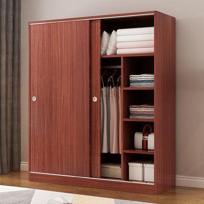 衣柜简约现代实木板式推拉门移门家用卧室宿舍组装储物柜衣橱组合