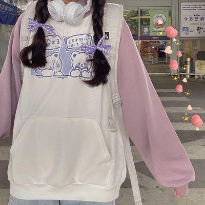doll『小熊香芋』卫衣甜美少女日系软妹插肩减龄可爱宽松加绒上衣