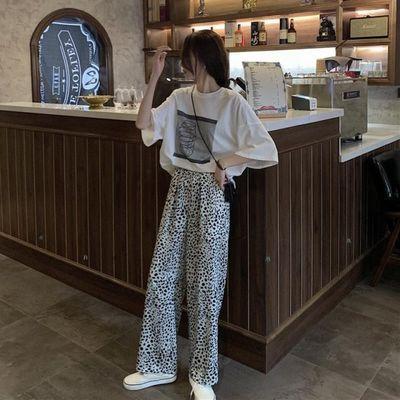单件/套装女春夏季大码时尚百搭宽松印花短袖T恤豹纹休闲阔腿长裤