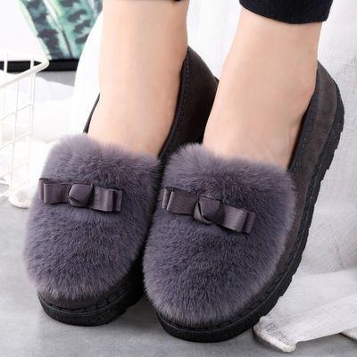 秋冬季新款毛毛鞋棉拖鞋女学生豆豆鞋韩版鞋女网红鞋保暖平底鞋子