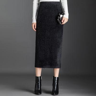 半身裙2020秋冬新款貂绒加厚高腰百褶裙韩版中长款显瘦A字毛线裙