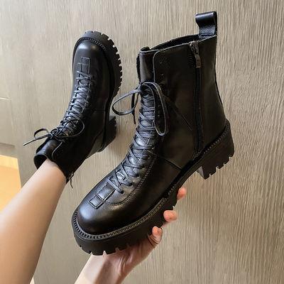 2020秋冬新品平底马丁靴时尚潮流低跟切尔西短靴系带女鞋