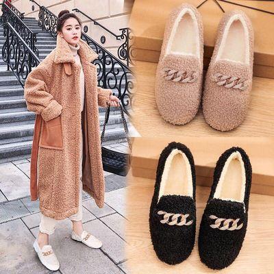 棉鞋女新款冬季加绒保暖学生韩版毛毛鞋女外穿豆豆女鞋网红平底鞋