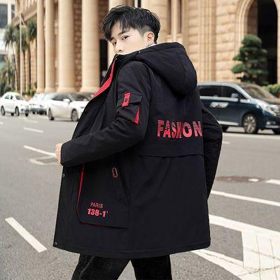 秋冬季男士加绒外套学生棉衣男韩版中长款加厚夹克青年冬装棉服新