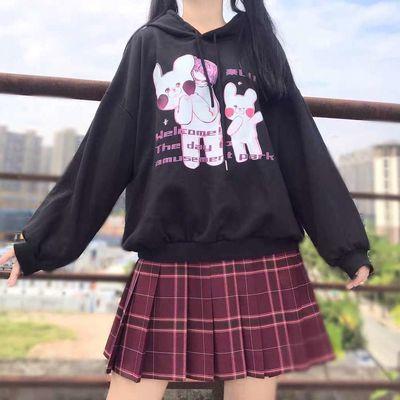 日系连帽加绒加厚卫衣女宽松韩版冬季新款长袖慵懒风小熊外套上衣
