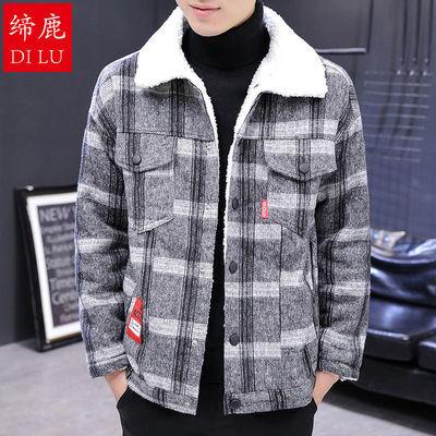 缔鹿冬季棉衣男2020新款短款加厚保暖男士翻领棉服格子夹克外套