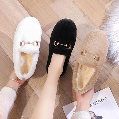 毛毛鞋女冬外穿2020秋冬新款平底一脚蹬懒人鞋加绒保暖网红豆豆鞋