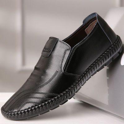 皮鞋男系带商务黑色正装男式单鞋软面皮休闲中老年人爸爸男士鞋子