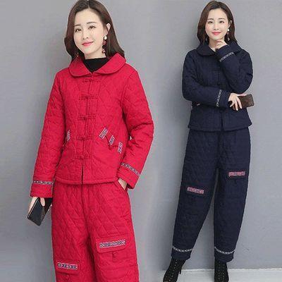 民族风棉袄棉裤套装女2020秋冬装加厚阔腿裤两件套妈妈装棉衣棉服