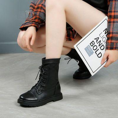 真皮马丁靴女加绒中跟2020秋冬新款鞋子女棉鞋粗跟厚底英伦风短靴