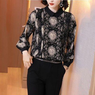 印花衬衫女外穿秋装2020流行韩版宽松长袖百搭洋气小翻领时尚上衣