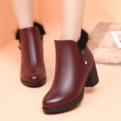 短靴女秋冬加绒棉真皮靴子单靴牛皮中跟粗跟马丁靴时尚百搭保暖靴