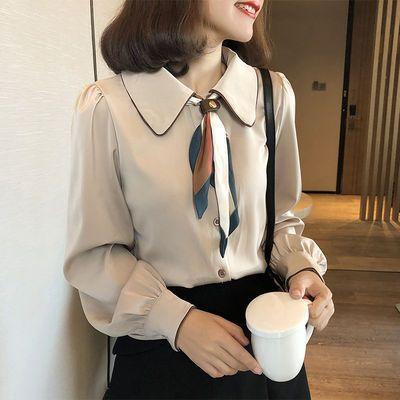 衬衣女2020秋季新款韩版宽松长袖打底衫气质简约锻面洋气丝带衬衫
