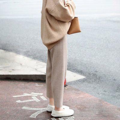 93074/140小个子八分毛呢奶奶裤女秋冬xs矮个子150cm七分坠感针织哈伦裤