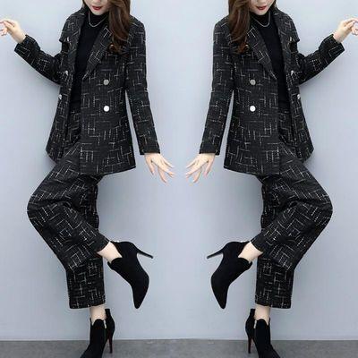 毛呢套装女装秋冬大码格子两件套裤毛呢外套阔腿裤休闲时尚套装女