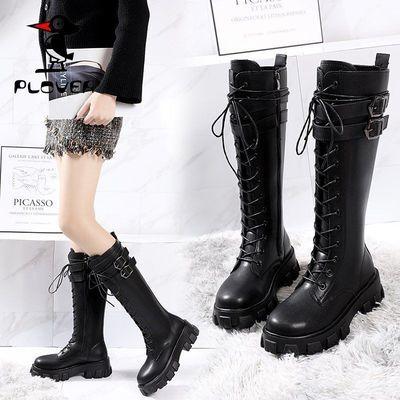 PLOVER啄木鸟新女鞋长靴女过膝显瘦秋冬骑士长筒靴高筒平底马丁靴