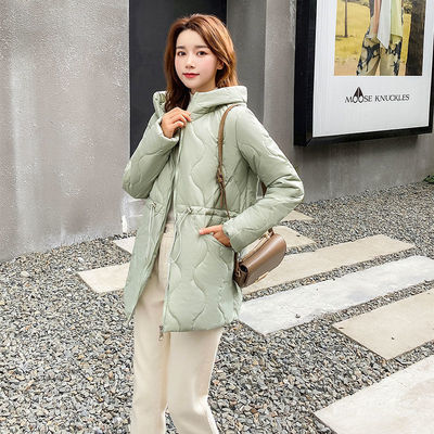 连帽中长款棉衣女冬2020新款洋气韩版宽松大码外套束腰潮气质保暖