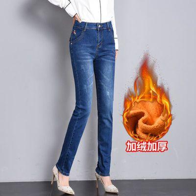 加长版超长加绒加厚高腰牛仔裤女冬 直筒裤宽松显瘦高个子175长裤