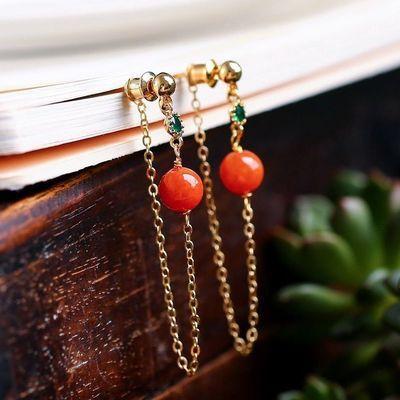 天然A货红翡古法银配件14k包金耳坠种水一级棒色泽润透戴起来超美