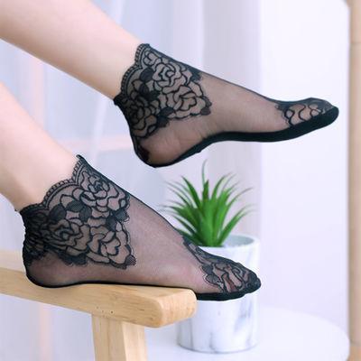 袜子女韩版中筒镂空蕾丝女士网纱日系花边短袜薄款透气学生高帮袜