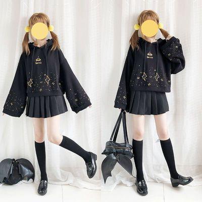 薄厚原创【星空漫游】喇叭袖卫衣外套短款新款秋冬春日系少女学生