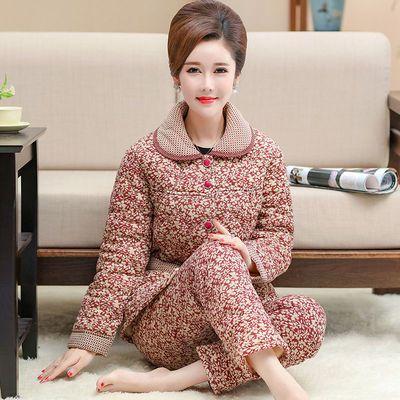 秋冬季中年妈妈婆婆女睡衣纯棉三层夹棉袄加厚保暖中老年人家居服