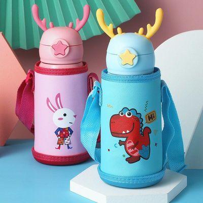 儿童保温杯带吸管两用小学生水壶宝宝316不锈钢防摔水杯可爱卡通