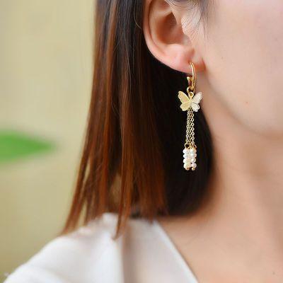 超美蝴蝶珍珠纯银三用耳饰网红爆款奢华气质耳环