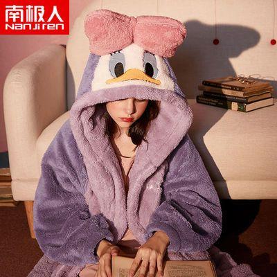 南极人人加厚长款睡袍迪士尼女秋冬保暖珊瑚绒卡通浴袍可爱睡衣