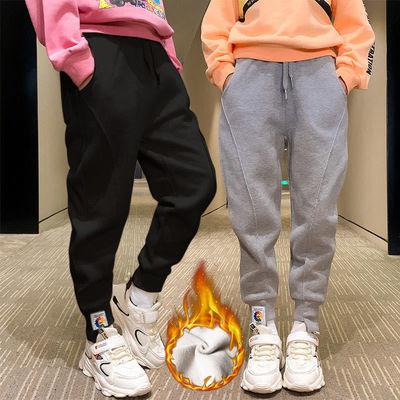 女童加绒裤子2020新款时髦宽松洋气休闲儿童秋冬裤子韩版运动长裤