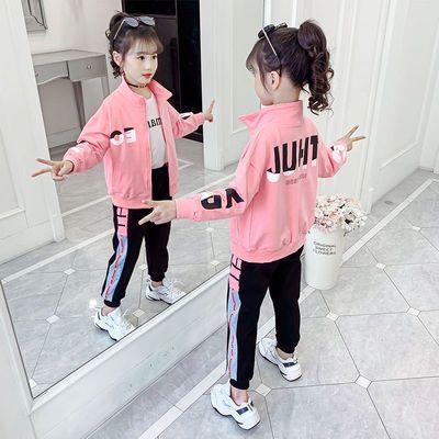 女童运动套装2020秋装新款韩版洋气外套女中大童休闲春秋两件套潮