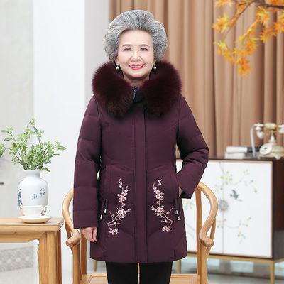 奶奶秋冬装棉衣中老年人绣花棉袄加厚外套女妈妈短款棉服老人衣服