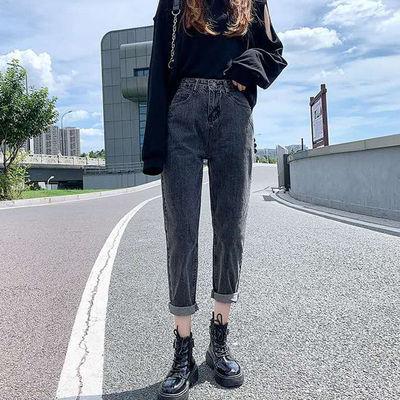 秋冬新款牛仔裤女直筒宽松高腰显瘦百搭韩版学生小个子阔腿老爹裤