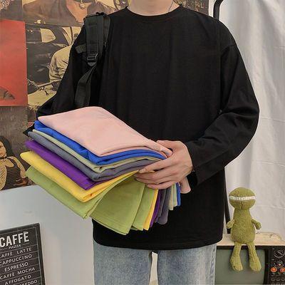 打底衫100%纯棉长袖t恤男士秋衣男装韩版潮流学生宽松卫衣服体恤