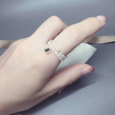ak珠天然淡水珍珠串珠项链戒指白透粉正圆几乎无瑕【2月13日发完】