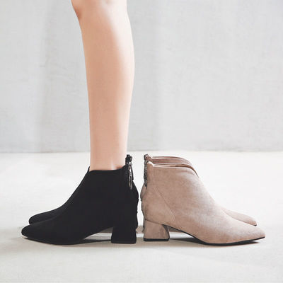 短靴女秋冬单靴2020新款网红瘦瘦靴粗跟中跟薄款弹力加绒马丁靴女