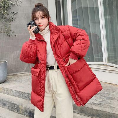 秋冬季外套女ins学生韩版棉衣中长款棉服宽松收腰加厚棉袄网红潮