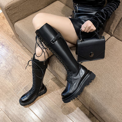2020新款高筒BV长靴女网红同款ins潮百搭骑士靴英伦风厚底机车靴