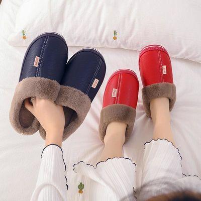 新款冬季棉拖鞋女防滑厚底居家用毛绒皮拖鞋情侣保暖包头棉鞋