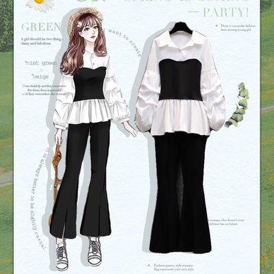 映月服饰2020新款女装减龄秋装洋气韩版女装收腰衬衫喇叭裤两件套
