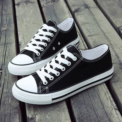 帆布鞋女学生韩版春秋季潮流新款休闲低帮网红超火百搭情侣款白色