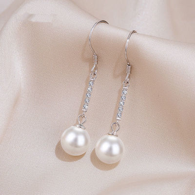 长款珍珠耳环新款2020年耳坠耳饰气质百搭纯银耳钉女网红爆款气质