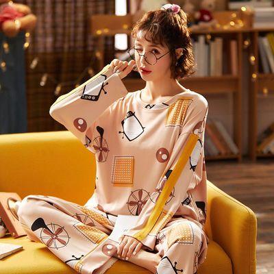 韩版新款纯棉睡衣家居服情侣款套头秋冬款长袖女款