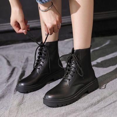 马丁靴女秋冬季新款韩版百搭英伦风短筒靴学生平底防滑网红雪地靴
