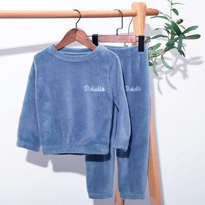 儿童睡衣男童暖暖套装珊瑚绒女童冬季加厚小孩保暖衣家居服外穿新【10月22日发完】