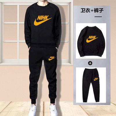 纯棉卫衣套装男士秋冬季圆领休闲中青年长袖韩版潮流运动裤两件套