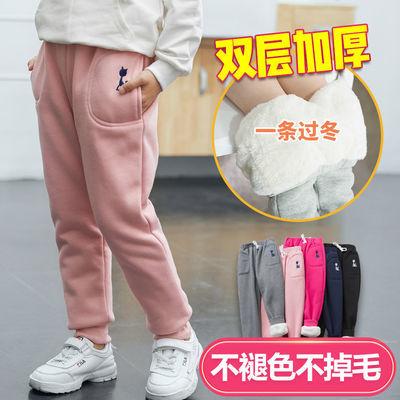 女童裤子加绒加厚秋冬外穿2020新款纯棉男童宝宝保暖儿童运动裤