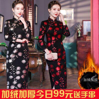 加绒旗袍连衣裙中长款复古中国风中年女修身大码年轻妈妈装旗袍裙