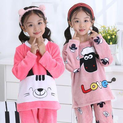 中大童冬季法兰绒保暖儿童睡衣小孩男女童宝宝童装休闲家居服套装