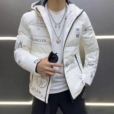 男士亮面羽绒服短款韩版潮流白鸭绒连帽青年20冬季帅气加厚外套男